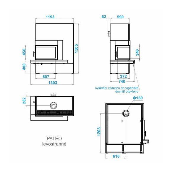 ABX Pateo jobb 6 kW modern zárt égésterű sarok komplett kandalló gránit padkával