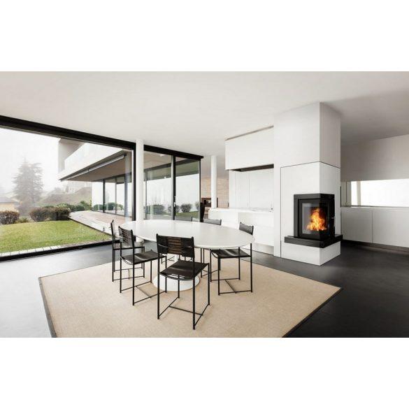 ABX Wells 7 kW modern zárt égésterű, hőtárolós, sarok komplett kandalló