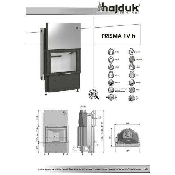 Hajduk Prisma 1VH51 9,5 kW zárt égésterű kandallóbetét