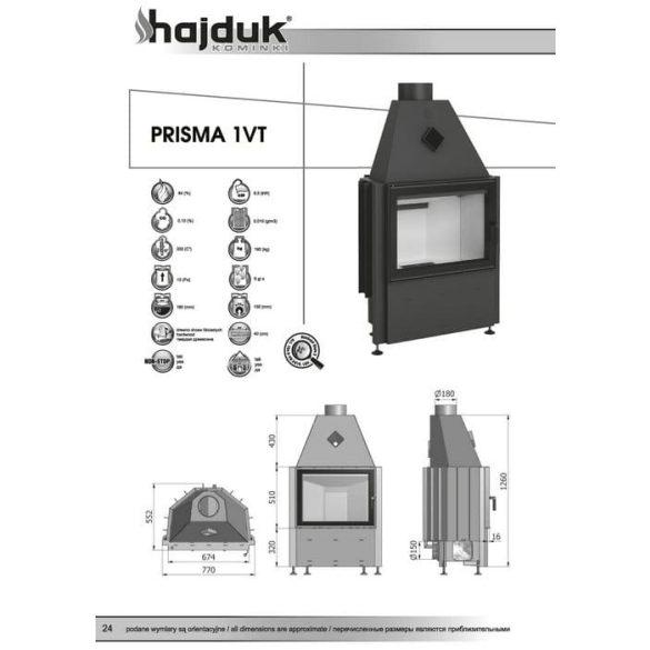 Hajduk Prisma 1VT 9,5 kW modern zárt égésterű kandalló tűztér