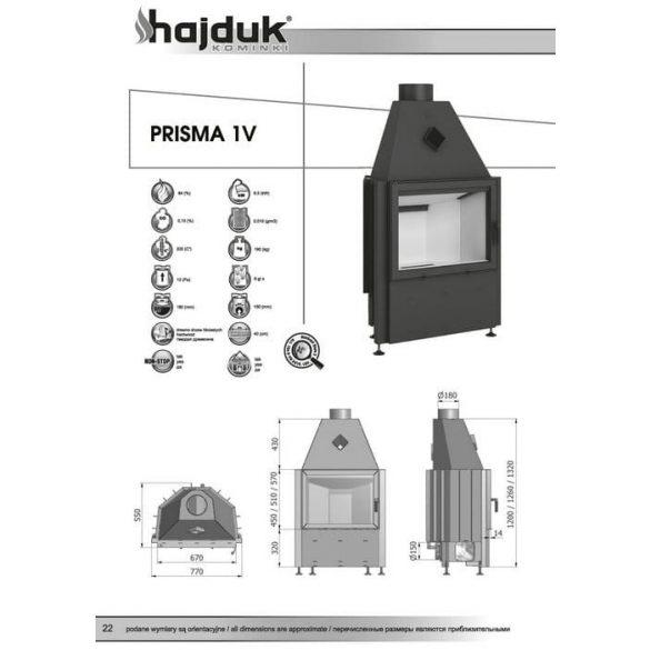 Hajduk Prisma 1V_45 9,5 kW zárt égésterű kandallóbetét