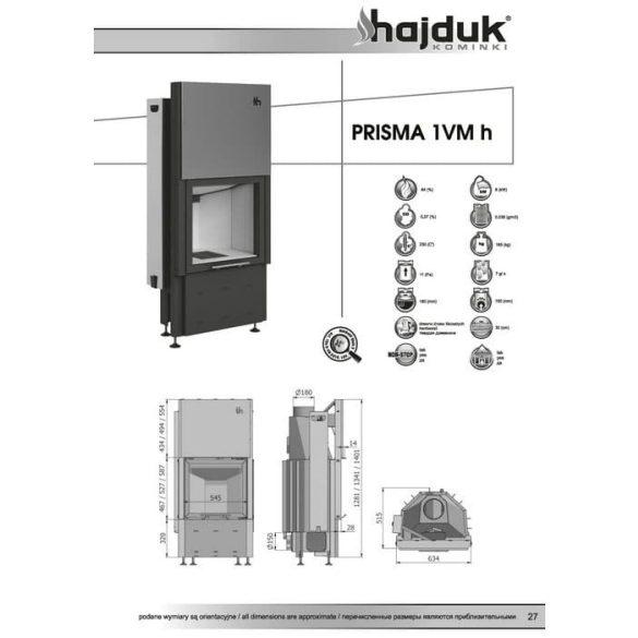 Hajduk Prisma 1VMH 8,8 kW zárt égésterű kandallóbetét