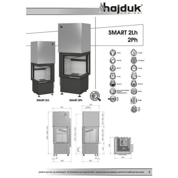 Hajduk Smart 2LH bal 7,5 kW modern zárt égésterű sarok kandallóbetét