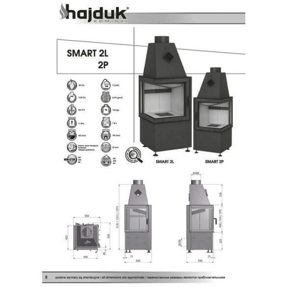 Hajduk Smart 2 jobb 7,5 kW modern zárt égésterű sarok kandallóbetét