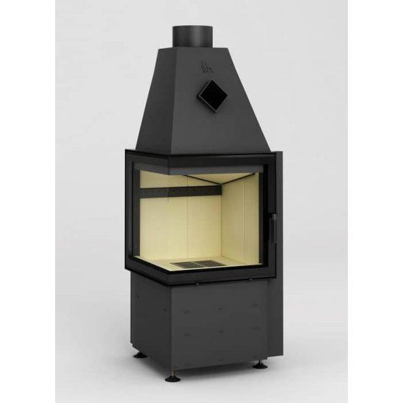 Hajduk Smart 2T jobb 7,5 kW modern zárt égésterű sarok kandallóbetét minimal üveggel