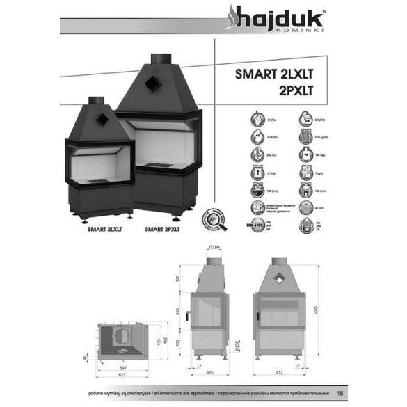 Hajduk Smart 2XLT 6,5 Kw modern zárt égésterű sarok kandallóbetét jobb oldali üveges