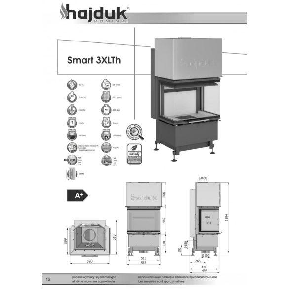 Hajduk Smart 3 XLTH 6,5 Kw modern zárt égésterű panoráma kandallóbetét