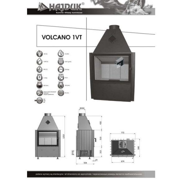 Hajduk Volcano 1VT 14 kW modern zárt égésterű kandallóbetét