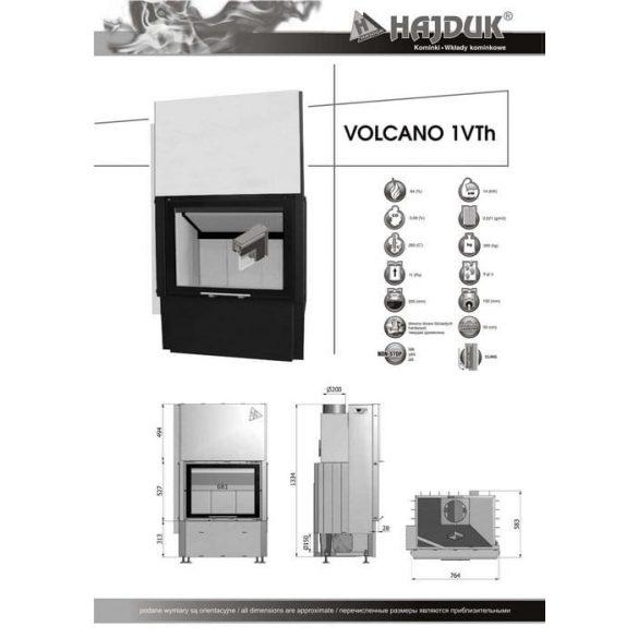 Hajduk Volcano 1VTH 14 kW modern zárt égésterű kandallóbetét