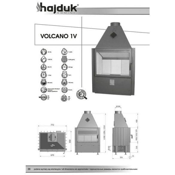 Hajduk Volcano 1V45 14 kW zárt égésterű kandallóbetét