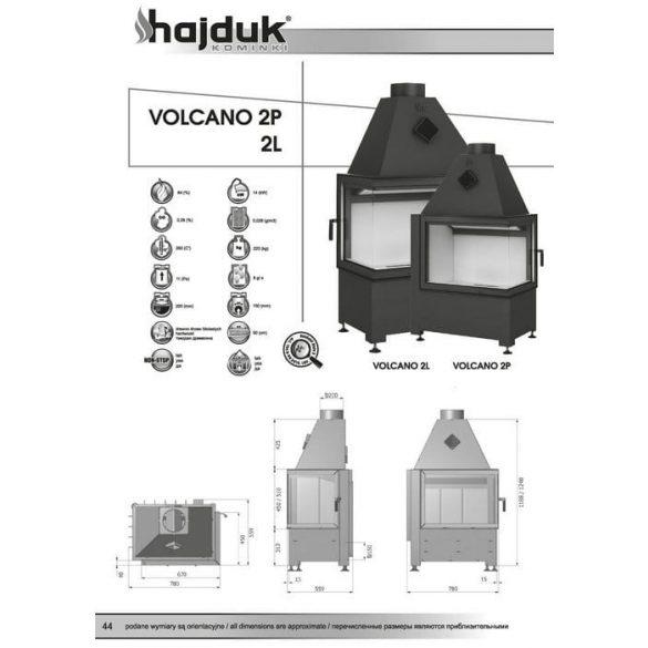 Hajduk Volcano 2_45 14 kW zárt égésterű jobbos sarok kandallóbetét