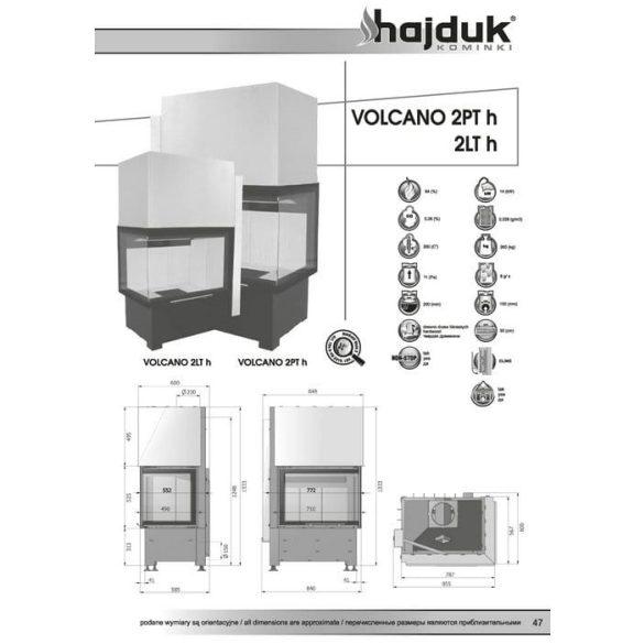 Hajduk Volcano 2TH 14 kW balos zárt égésterű sarok kandalló tűztér