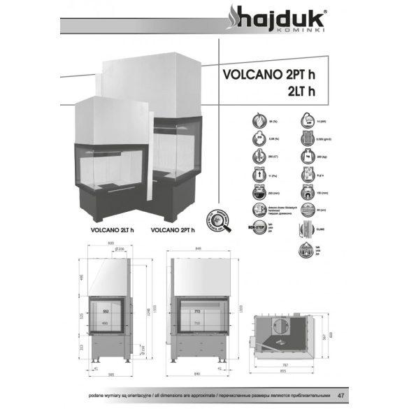 Hajduk Volcano 2H jobb 14 kW modern zárt égésterű sarok kandallóbetét