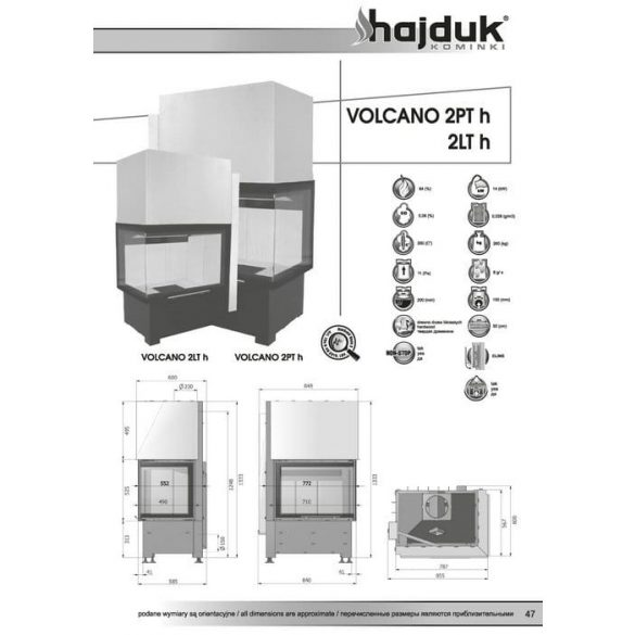 Hajduk Volcano 2TH 14 kW jobbos zárt égésterű sarok kandalló tűztér