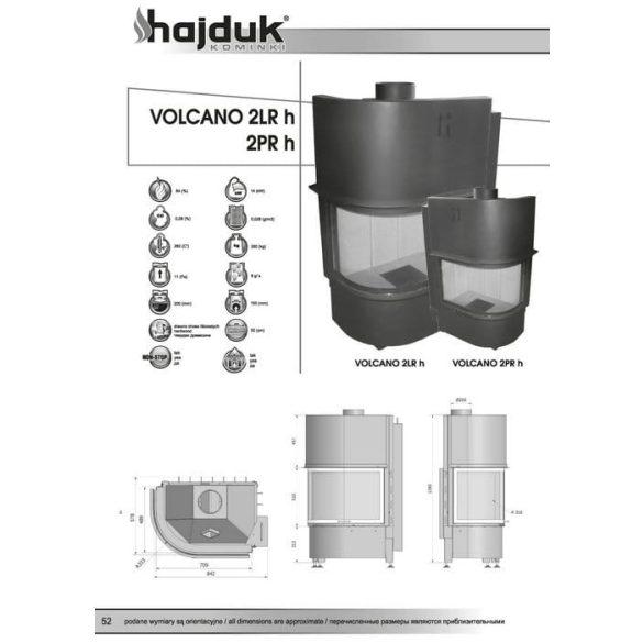 Hajduk Volcano 2 RH bal 14 kW modern zárt égésterű sarok kandallóbetét