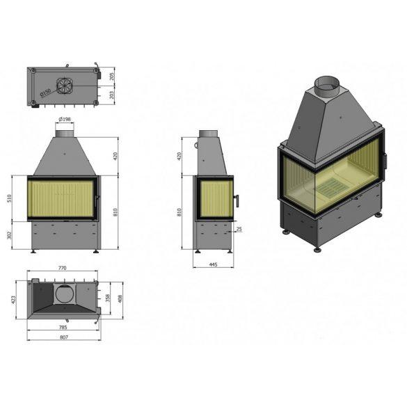 Hajduk Volcano 2 AT Jobb 9 kW modern zárt égésterű sarok kandallóbetét