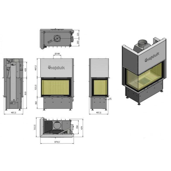 Hajduk Volcano 2 AT Jobb 9 kW liftes modern zárt égésterű sarok kandallóbetét