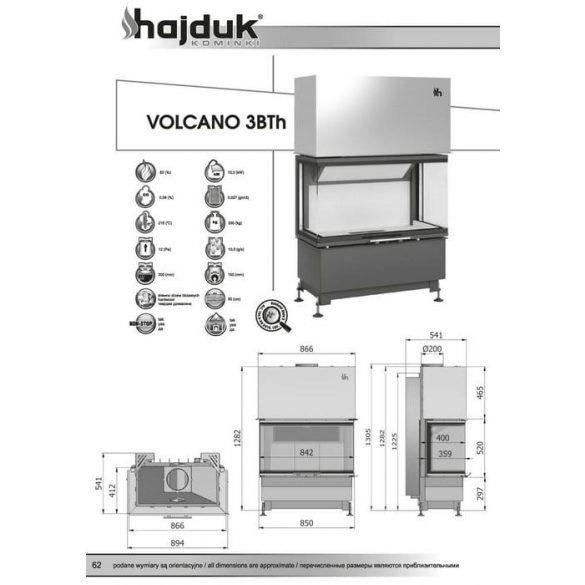 Hajduk Volcano 3 Bth 11 kW modern zárt égésterű panoráma kandallóbetét