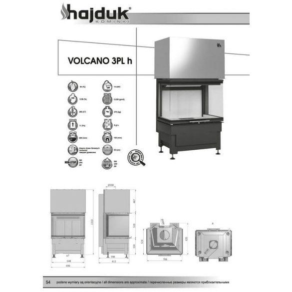 Hajduk Volcano 3 PLH 14 kW zárt égésterű panoráma kandallóbetét
