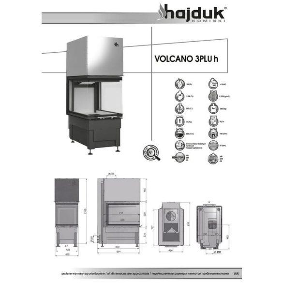 Hajduk Volcano 3PLUH 14 kW zárt égésterű panoráma kandallóbetét