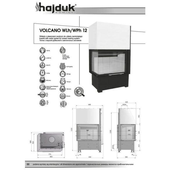 Hajduk Volcano W12H jobb 12 kW vízteres modern zárt égésterű sarok kandallóbetét