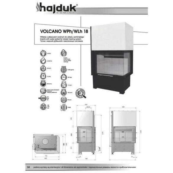 Hajduk Volcano W18H bal 18 kW vízteres modern zárt égésterű sarok kandallóbetét