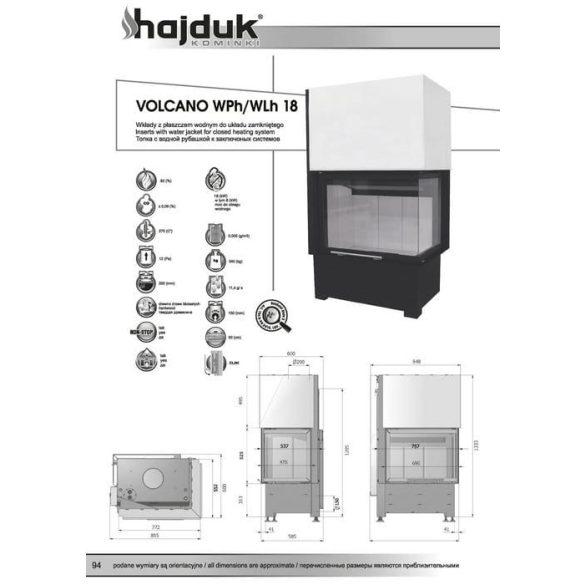 Hajduk Volcano W18H liftes jobb 18 kW vízteres modern zárt égésterű sarok kandallóbetét