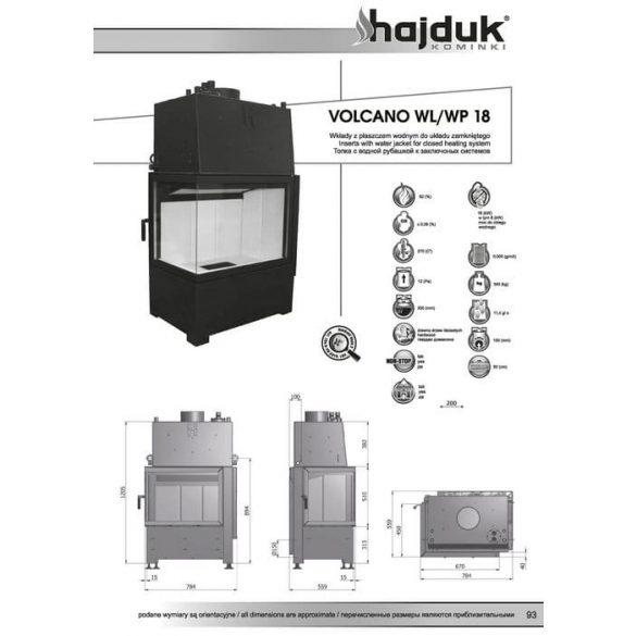 Hajduk Volcano W18 bal 18 kW vízteres modern zárt égésterű sarok kandallóbetét