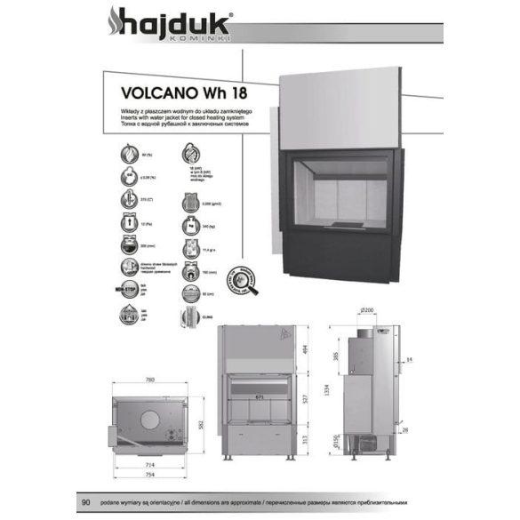 Hajduk Volcano W18H 18 kW vízteres modern zárt égésterű kandallóbetét