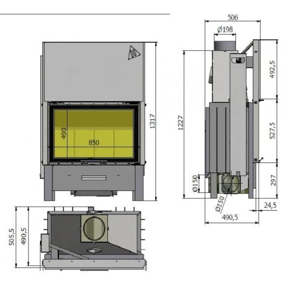 Hajduk Volcano BTH 11 kW modern zárt égésterű panoráma kandallóbetét