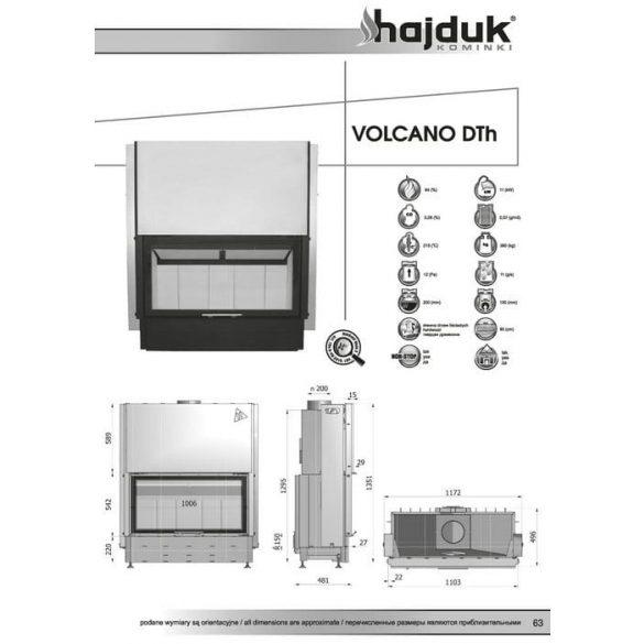 Hajduk Volcano DTH 11 kW modern zárt égésterű panoráma kandallóbetét