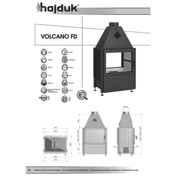 Hajduk Volcano FD45 14 kW zárt égésterű kétoldalas kandallóbetét