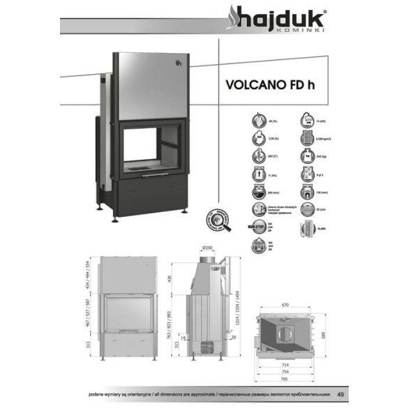 Hajduk Volcano FDH45 14 kW zárt égésterű kétoldalas kandalló tűztér
