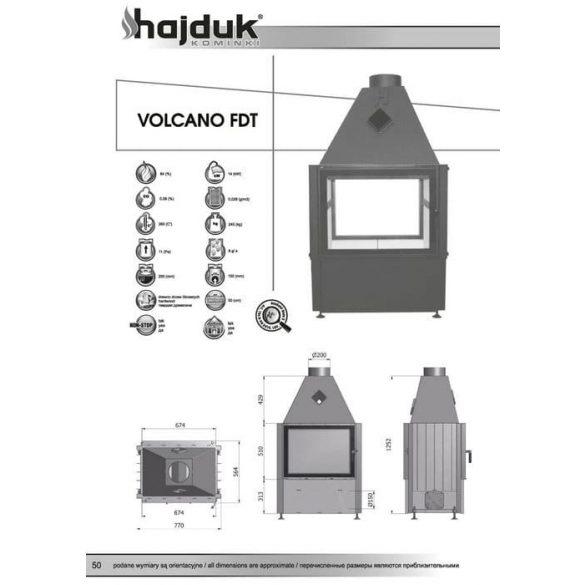 Hajduk Volcano FDT 14 kW zárt égésterű kétoldalas kandallóbetét