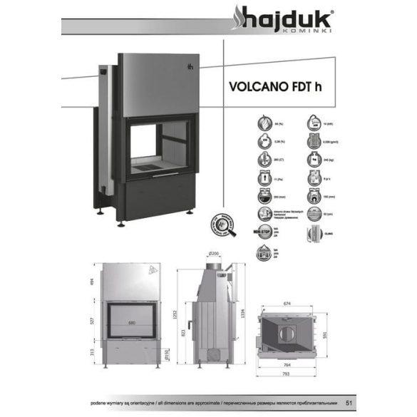Hajduk Volcano FDTh 14 kW zárt égésterű kétoldalas kandallóbetét