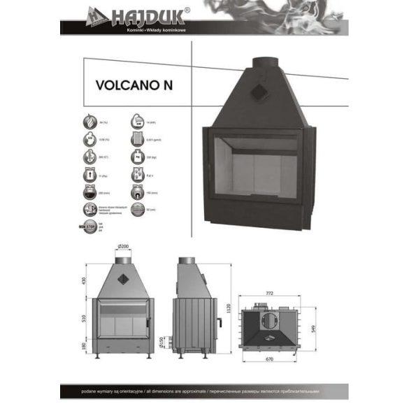 Hajduk Volcano N süllyesztett típus 14 kW zárt égésterű kandallóbetét