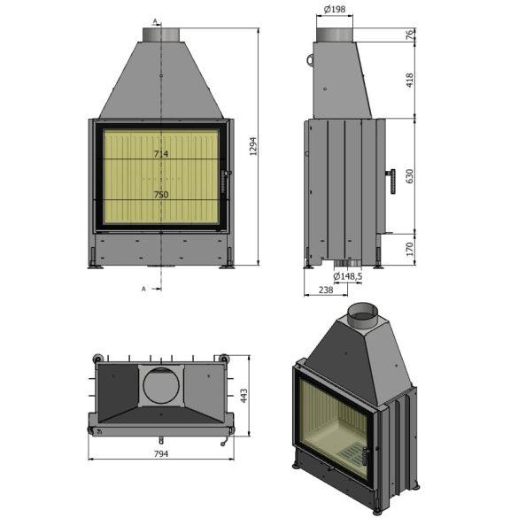 Hajduk Volcano ST 11 kW zárt égésterű panoráma kandallóbetét