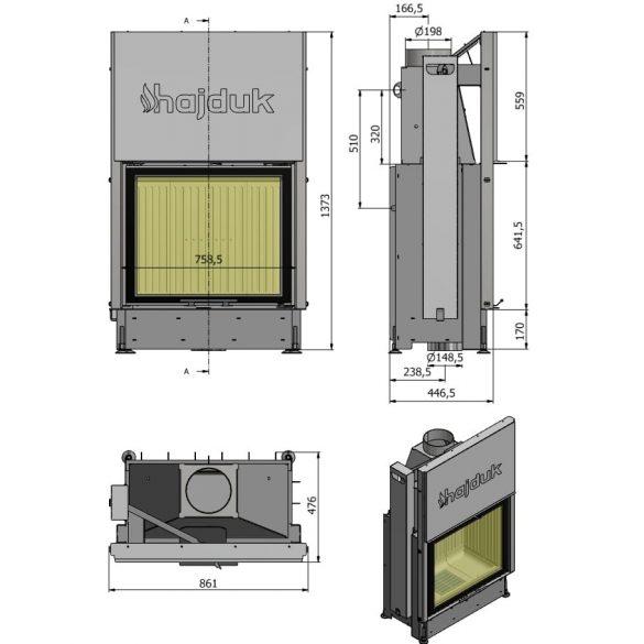 Hajduk Volcano STH 11 kW zárt égésterű panoráma liftes kandallóbetét