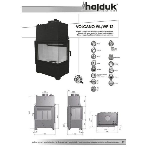 Hajduk Volcano W12 bal 12 12 kW vízteres modern zárt égésterű sarok kandallóbetét