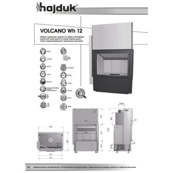 Hajduk Volcano W12H 12 kW vízteres modern zárt égésterű kandallóbetét