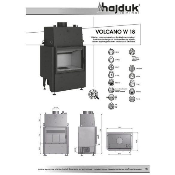 Hajduk Volcano W 18 18 kW vízteres modern zárt égésterű kandallóbetét