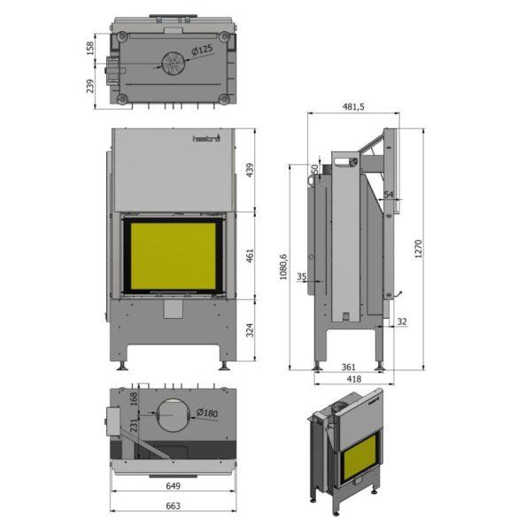 Hajduk Heatro 55H modern zárt égésterű kandallóbetét