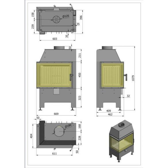 Hajduk Heatro 55L, modern, zárt égésterű balos sarok kandallóbetét