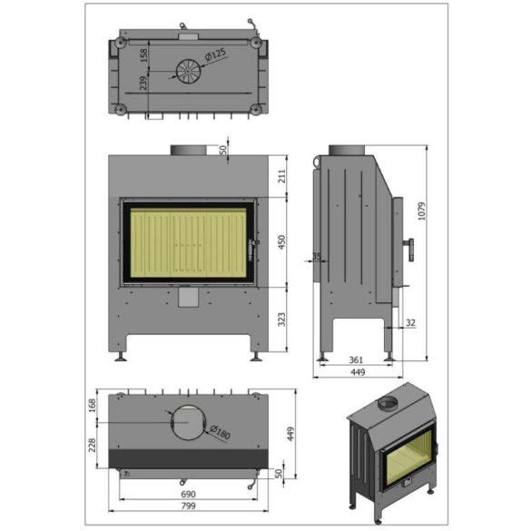 Hajduk Heatro 69H modern zárt égésterű kandallóbetét