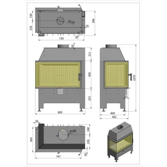 Hajduk Heatro 69P modern zárt égésterű jobbos sarok kandallóbetét