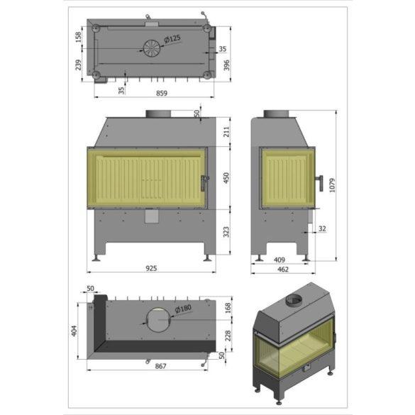 Hajduk Heatro 81P modern zárt égésterű jobbos sarok kandallóbetét
