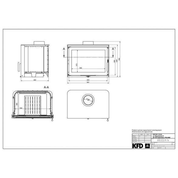 KFD Eco M 14 Box 14 kW-os modern öntvény kandallóbetét