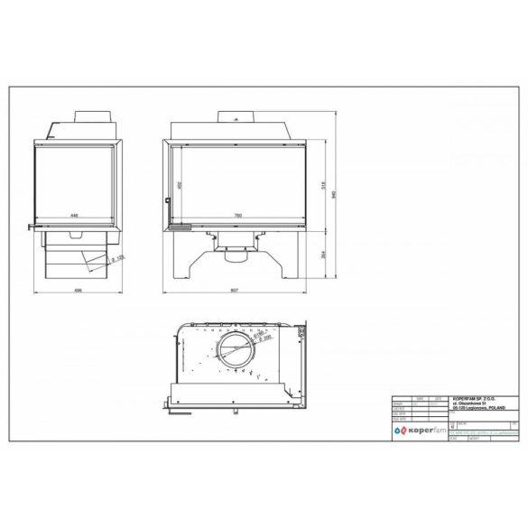 KFD ECO i LUX 90+ JOBB 11,7 kW modern zárt égésterű öntöttvas sarok kandallóbetét