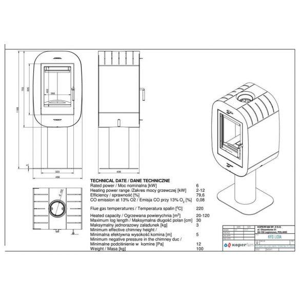 KFD Lidia 4 kw modern zárt égésterű kandallókályha