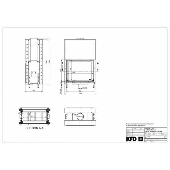 KFD Linea DF 1190 3.0 16, kW modern zárt égésterű kandallóbetét